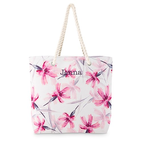Large Personalized Cotton Canvas Fabric Beach Tote Bag - Pink Floral Watercolor