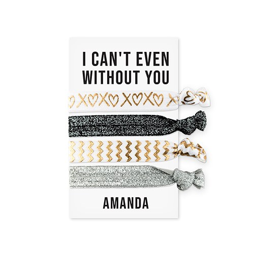Custom Women's Black and Gold Printed Hair Ties - Can't Even Without You