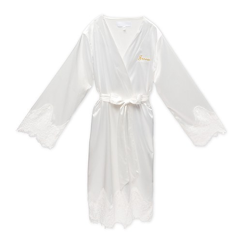 Personalized Embroidered Silky & Lace Trim Bridal Wedding Robe - White