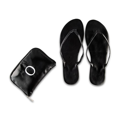 Personalized Foldable Flip Flop Wedding Favors - Black