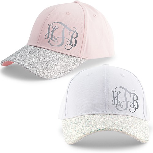 Women's Wedding Party Glitter Hats - Monogram
