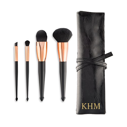 Personalized Makeup Brush Set & Travel Pouch - Black & Rose Gold