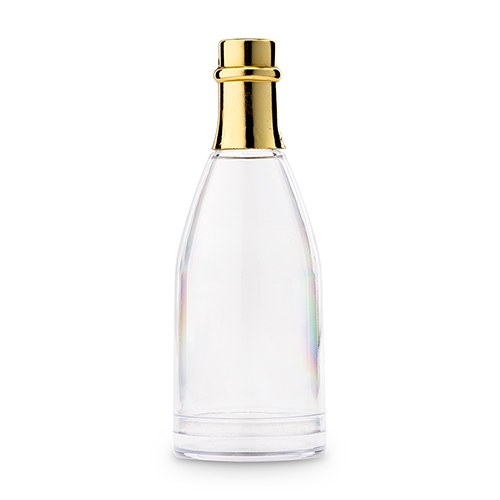 Small Clear Plastic Wedding Favor Container Set - Champagne Bottle with Gold Lid