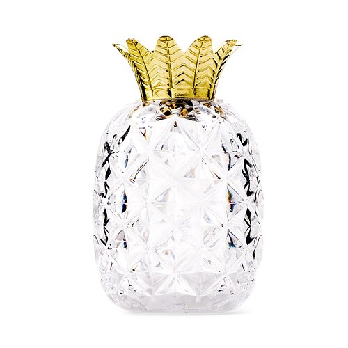 Small Clear Plastic Wedding Favor Container - Pineapple with Gold Top