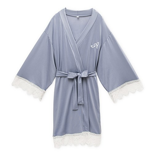 Women's Personalized Jersey Knit Robe with Lace Trim - Powder Blue
