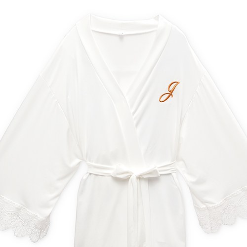 Personalized Junior Bridesmaid Jersey Knit Robe With Lace Trim - White