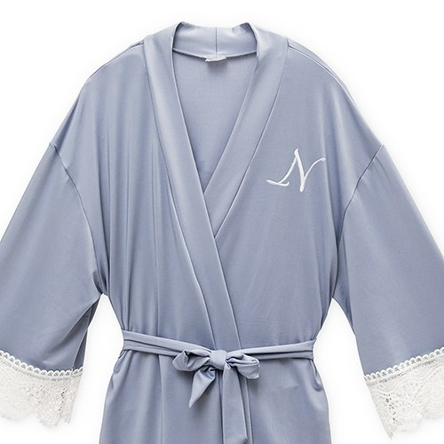 Personalized Junior Bridesmaid Jersey Knit Robe With Lace Trim - Powder Blue