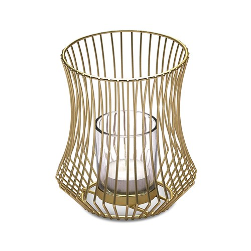 Small Metal Geo Wire Tea Light Candle Holder - Gold