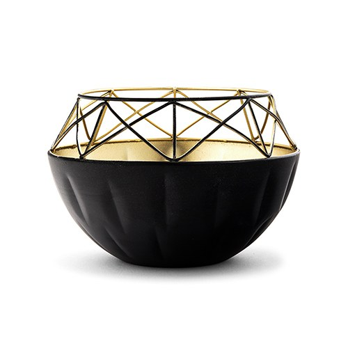 Short Round Geo Metal Candle Holder - Black with Gold Interior