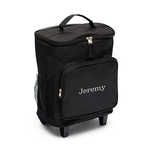 Personalized Black Rolling Cooler Bag Trolley - Monogram Embroidered