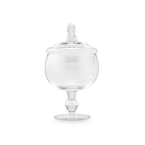Small Glass Apothecary Candy Jar - Footed Globe Bowl with Lid