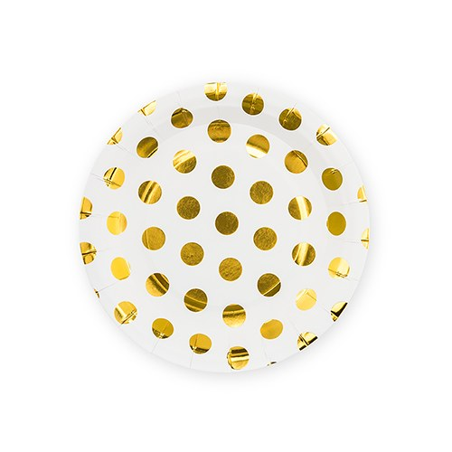 Small Round Disposable Paper Party Plates - Gold Polka Dot - Set of 8