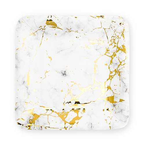 Large Square Disposable Paper Party Plates - Geo Marble - Set of 8