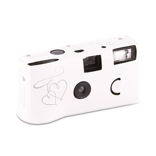 White and Silver Enchanted Hearts Disposable Camera