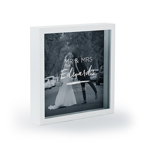 Personalized Square Shadow Box Picture Frame- Script Font Etching