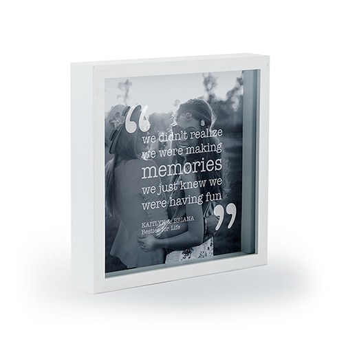 Personalized Square Shadow Box Picture Frame- Memories Etching