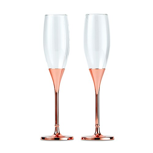 Toasting Flutes   Rose Gold Diamond Glitter