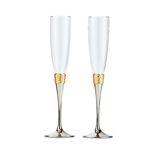 Toasting Flutes   Hammered Gold & Polished Silver