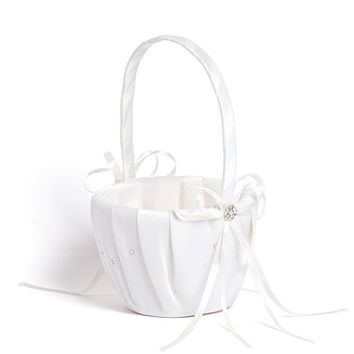Ceremony Accessory Flower Girl Basket with Pearls and Crystals