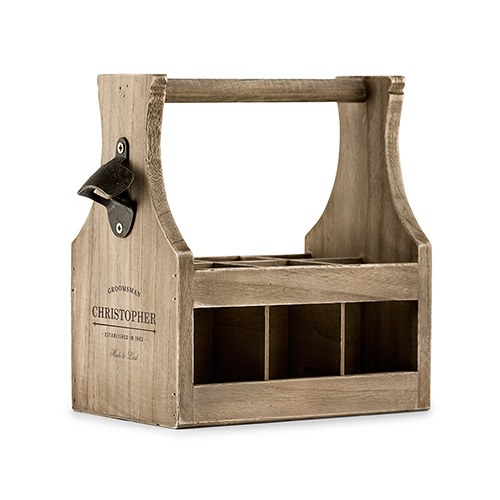 Personalized Wooden Beer Bottle Caddy with Opener - Groomsman Etching