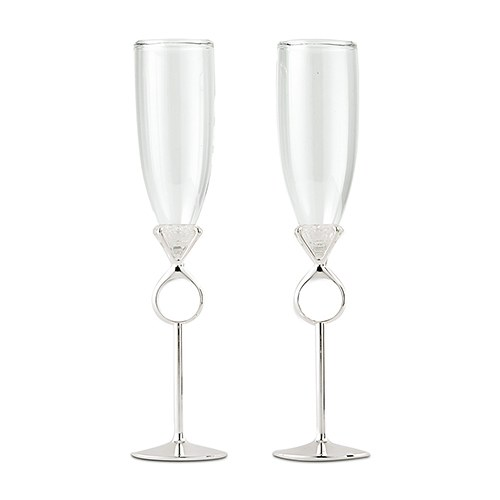Diamond Ring Wedding Reception Champagne Flutes