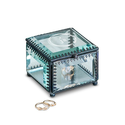 Small Personalized Vintage Glass Jewelry Box – Little Heart Engraving
