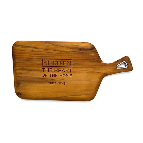 Personalized Natural Teak Wood Cutting and Serving Board with Handle- Kitchen Etching