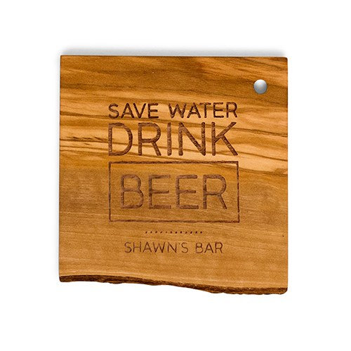 Rustic Wood Coaster Set   Drink Beer Etching