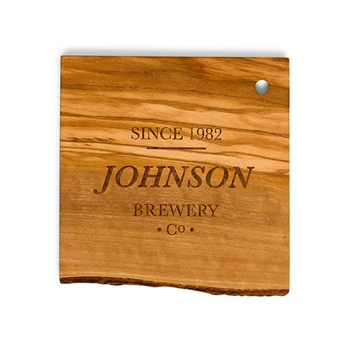 Rustic Wood Coaster Set   Brewery Co. Etching