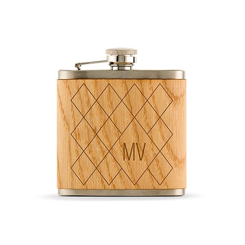 Personalized Oak Wood Wrapped Stainless Steel Hip Flask – Argyle Monogram Print