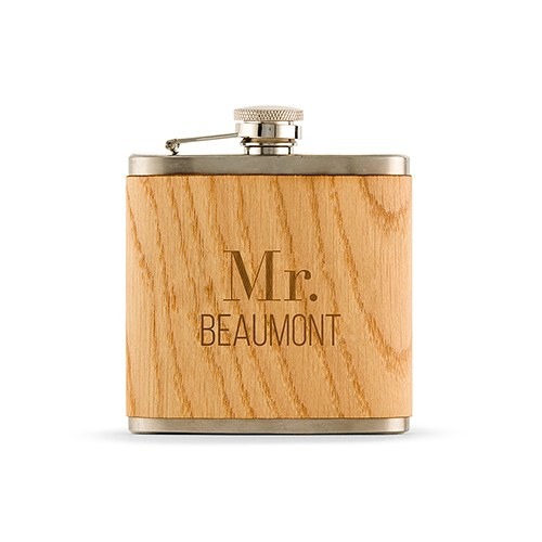 Wood Wrapped Hip Flask - Modern Text Etching