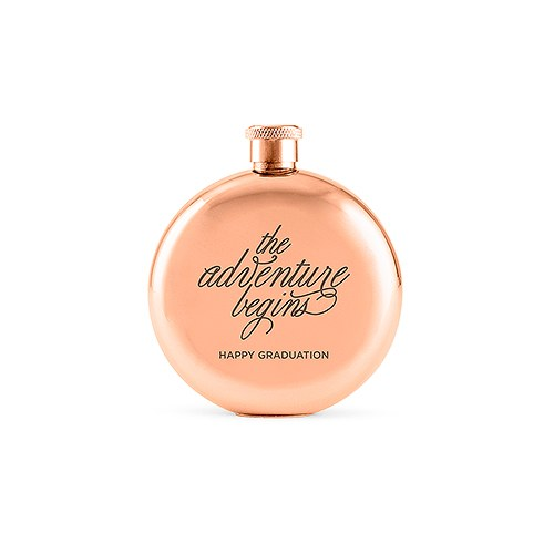 Personalized Round Rose Gold Stainless Steel Hip Flask – The Adventure Begins Engraving