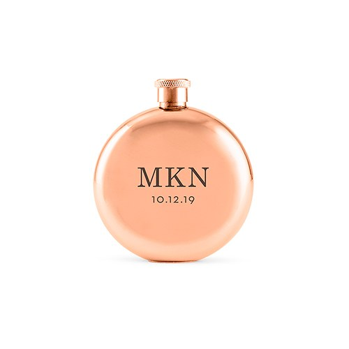 Personalized Rose Gold Stainless Steel Round Hip Flask - Classic Monogram Engraving