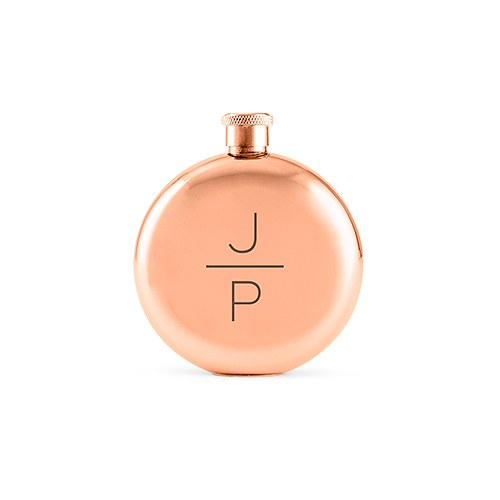 Personalized Rose Gold Stainless Steel Round Hip Flask – Stacked Monogram Engraving
