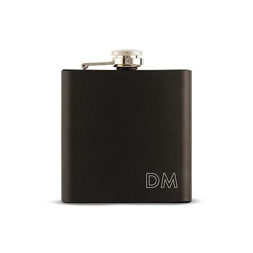 Personalized Engraved Black Hip Flask Wedding Gift- Outlined Monogram Engraving