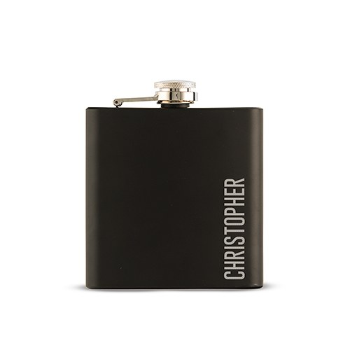 personalized engraved black hip flask wedding gift vertical name