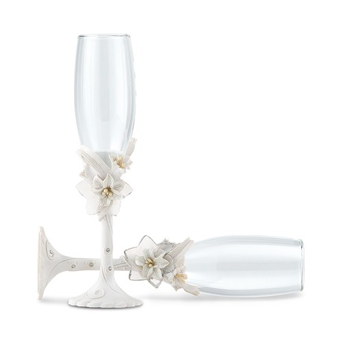 Wedding Accessory White Tiger Lily Toasting Set