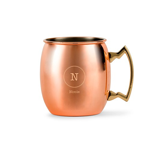 Personalized Copper Moscow Mule Drink Mug – Circle Monogram Engraving