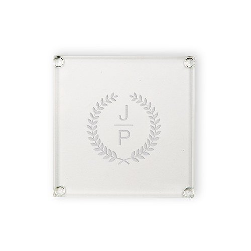 e2238fe83508 Personalized Glass Coaster - Stacked Monogram With Leaf Crest