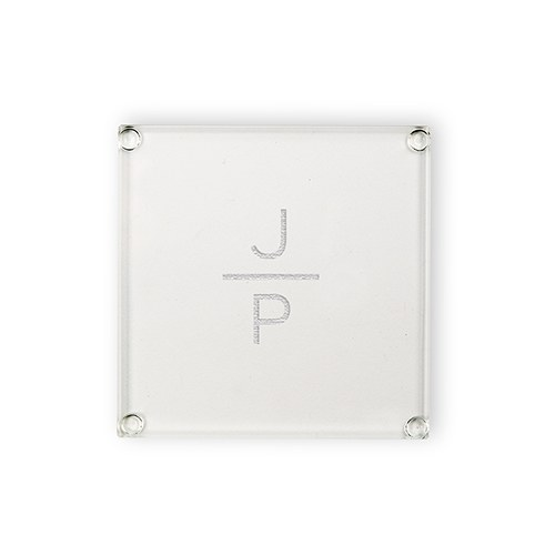 Personalized Glass Drink Coaster - Stacked Monogram