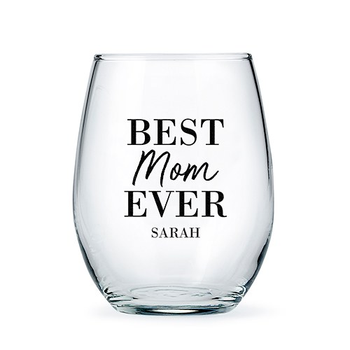 Personalized Stemless Wine Glass - Best Mom Ever Print
