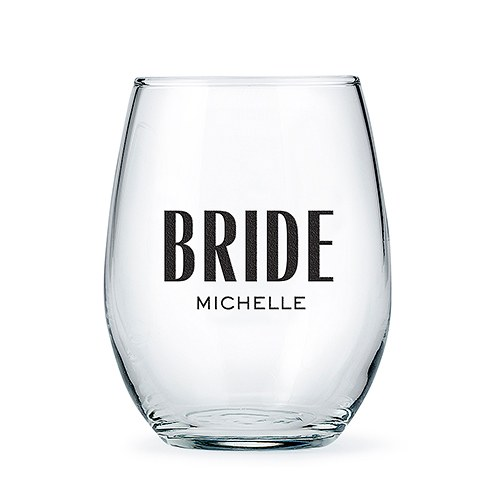 Personalized Stemless Wine Glass - Modern Bride Print
