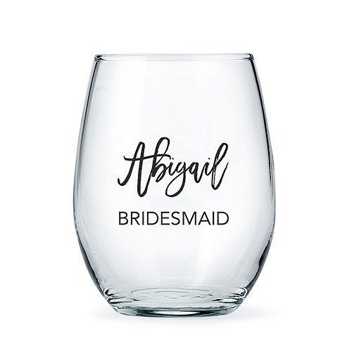 Personalized Stemless Wine Glass - Calligraphic Name Print