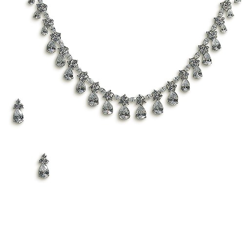 Vintage Silver Necklace and Earring Set – Pear Drop Crystal Clusters
