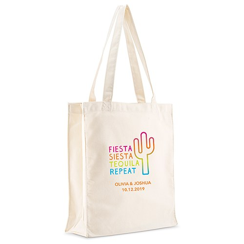 Personalized White Canvas Tote Bag - Fiesta Siesta Tequila Repeat