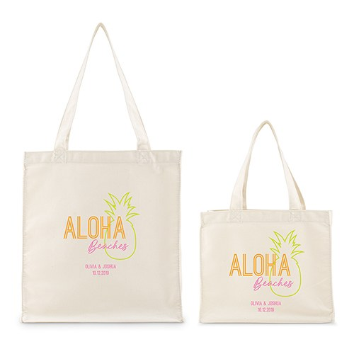 Personalized White Canvas Tote Bag - Aloha Beaches