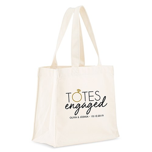 Personalized White Canvas Tote Bag - Totes Engaged