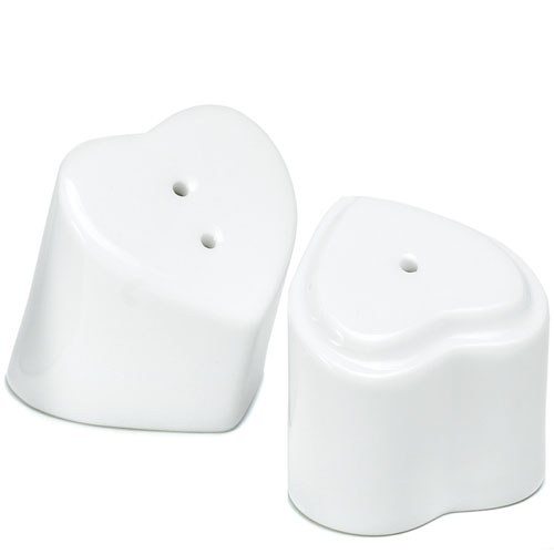 Interlocking  Heart to Heart Wedding Favor Salt and Pepper Shakers