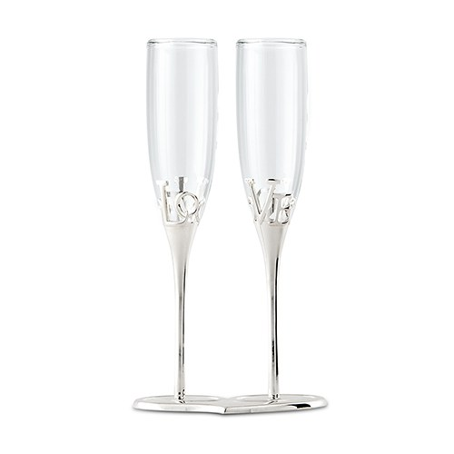 Silver Plated Love Stem Champagne Holder and Glass Wedding Reception Flutes