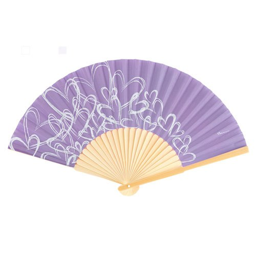 contemporary hearts wedding favor hand fans lavender